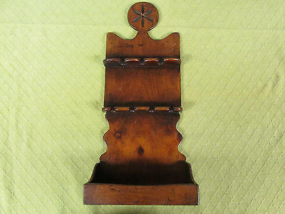 Antique Wood Folk Art Hanging Spoon Holder