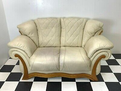 Italian style cream leather two seater sofa exposed oak frame Delivery Available