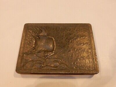 ART DECO    TIN BOX WITH REPOUSSE RELIEF OF SAILING SHIP IN PEWTER MATERIAL SAIL