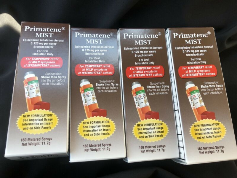 4 NIB Primatene Mist Epinephrine Inhalation Aerosol Bronchodilator 160 Sprays