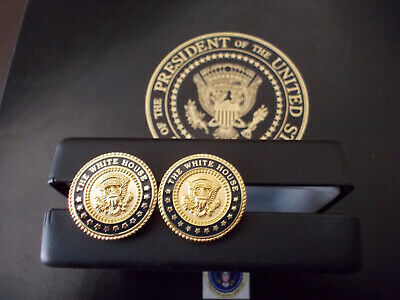 24k Gold Plated Cufflinks - WHITE HOUSE CUFF LINKS 24K GOLD-PLATED PRESIDENTIAL VIP BLUE COBALT