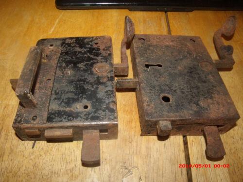2 ANTIQUE  EARLY 1900S  HEAVY  DOOR LOCKS. MARKED GERMANY