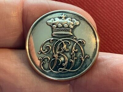BARON CORONET with SCRIPT CIPHER B D 25.2mm S/P LIVERY BUTTON FIRMIN 1852-75