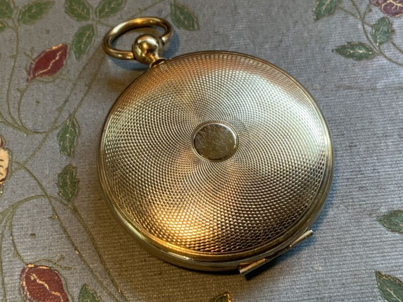 Antique Victorian Gold Filled Locket Pendant Pocket Watch Style Engine Turned