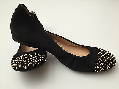 Used, $148 J CREW CECE Suede Gold Studded Ballet Flats BLACK Size 5  RARE! NEW 09279 for sale  Forest