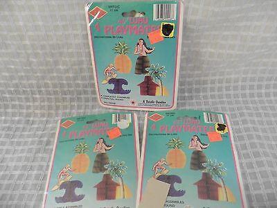 LUAU/HAWAIIAN Honeycomb Centerpiece Party Decoration Hula Girl Pineapple Vintage - Vintage Luau Decorations