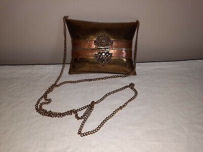 1950s Handbags, Purses, and Evening Bag Styles VINTAGE Pillow Evening Purse Hinged Brass & Copper Chain Strap Velvet Lining $44.52 AT vintagedancer.com