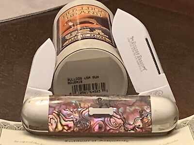 Rare Bulldog Brand GEC Sunfish Elephant Toe Red Abalone Pocket Knife 1 Of 50