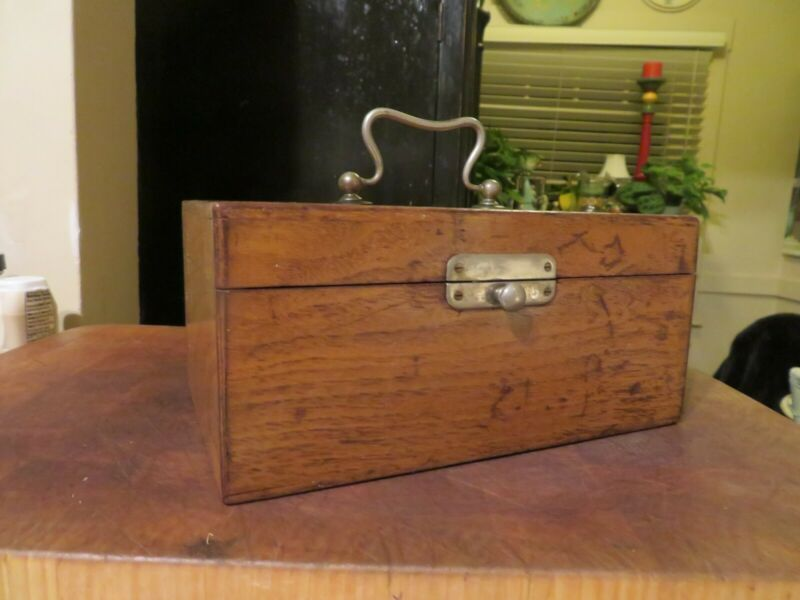 Antique Wood Storage Box Carrying Case w/Metal Handle & Latch Nautical