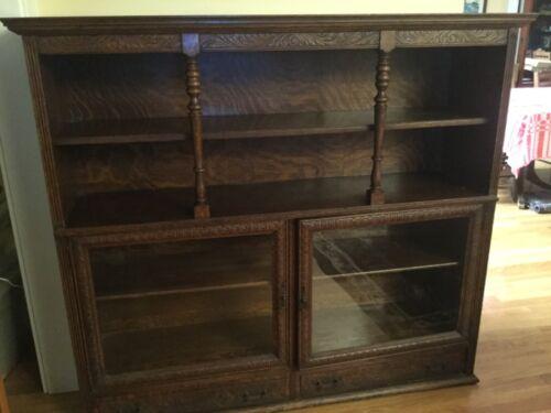 Original Antique Victorian shelving Cabinet Bookcase carved detailing