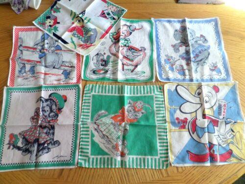 7 vintage  childs hankie handkerchief lot Tom Lamb