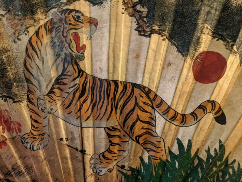 Antique HUGE CHINESE Wall Fan Hand Painted Tiger Gold Sun Rays Moon Art Bamboo