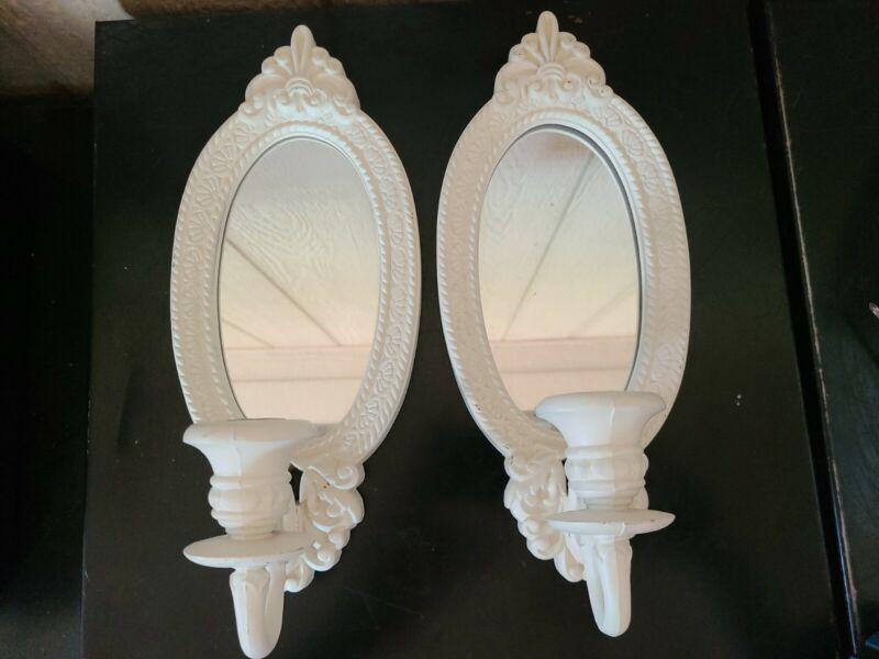 (2) Vintage Home Interior Mirrored White Wall Sconce Candle Holders Shabby Chic