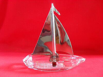 Vintage Glass Sailboat Candy Container w/ Metal Sail