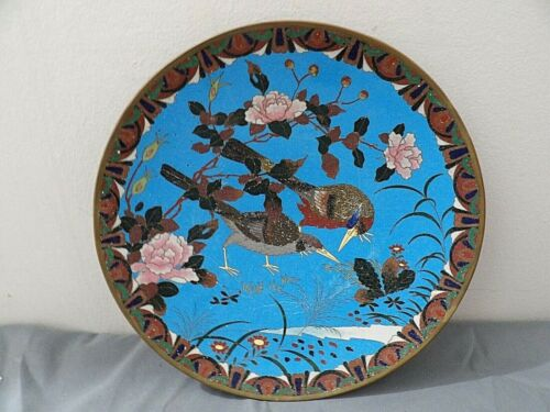 Antique Meiji Period Japanese Cloisonne Charger 12 inch fine condition
