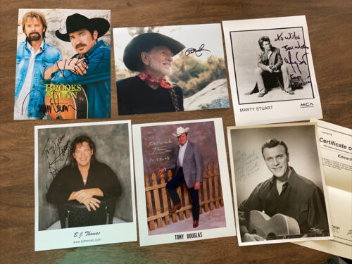 Country Music Lot 6 Authentic Autographed Photos Eddie Arnold Willie Nelson - $30.00