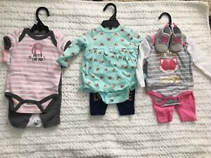 Assortment of New Baby Girl Clothes - NB, 0-3,  3-6, 6-12
