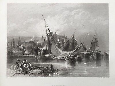 1842 Antique Print; Brixham, Devon after Edward Duncan