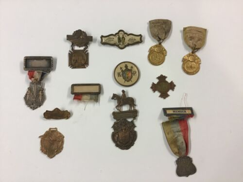 Collection Antique & Vintage Knights Of Pythias Metals & Ribbons
