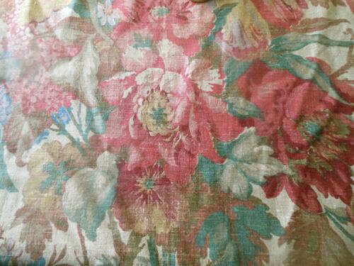 Antique Lg. Floral Bouquet Linen Fabric ~ Rose Pink Green Blue Caramel Red