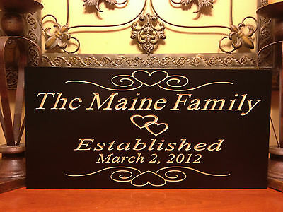 - Personalized Established Plaque Sign Wedding Name Engraved Marriage Family Gift
