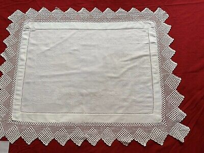 Antique White Linen and Lace Hand Sewn Table Centre Tray Cloth Afternoon Tea Clo