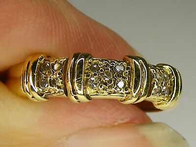 VINTAGE 18CT GOLD AND DIAMOND UNISEX? DRESS RING, SIZE M 1/2, 2.5 GRAMS