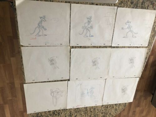 9 MIX  LOT PINK PANTHER, PRODUCTION  CEL,   PENCIL  DRAWING