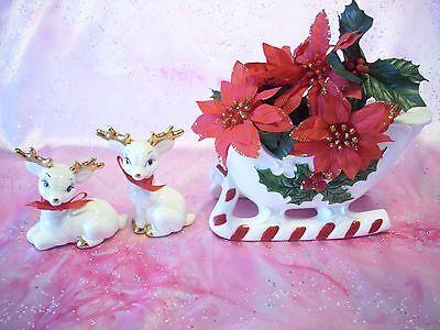 VTG White Christmas Holly Santa Reindeer Sleigh Plays Jingle Bell Planter Figure