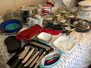 COMPLETE SET OF CORELL DISHES AND PADERNO UTENSILS ETC, ETC.