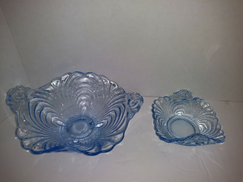 Elegant Cambridge Caprice Moonlight Blue Nut Dishes Tab Handles Set of 2