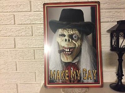 Make My Day Ghostly Skull Clint Eastwood Halloween Sign Aluminum New 12 x 18