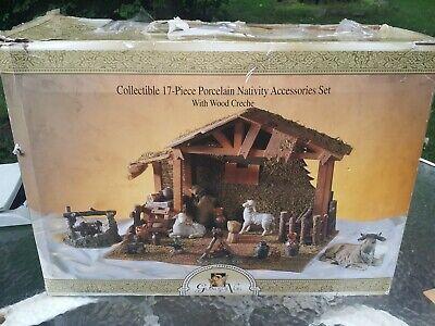 Grandeur Noel 17 pc Hand-Painted Porcelain Nativity Set w wood manger