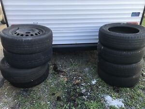 8 tires 225/60/17 + 4 steelies