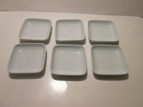 "Vintage Lot of 6 Korean Celadon Square Bowl Sauce Dishes 4 1/4"" circa 1990"
