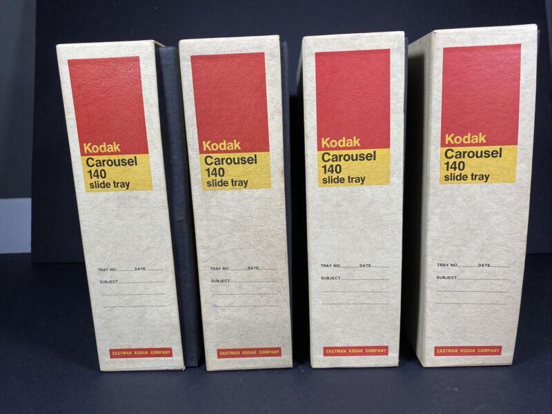 Kodak Vintage Slide Carousel 140 Round Slide Projector Trays Lot of 4 Org. Boxes