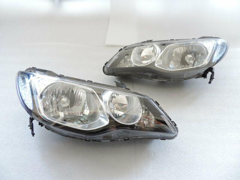 For 2006-2011 Honda Civic Sedan 4Dr JDM Black Headlights+2x Halogen Light Bulbs