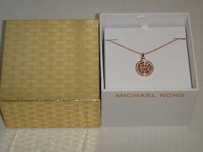 Michael Kors Women's Heritage Fulton Rose Gold Necklace Crystals MKJ4342791 +BOX