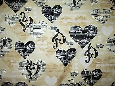 MUSIC NOTES HEARTS BLACK WHITE CREAM COTTON FABRIC - Black And White Hearts