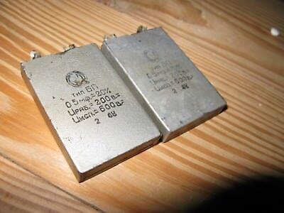 Rare Pair Vintage Paper Capasitors 200v 0.5uf Hifi Hiend Made In 1948