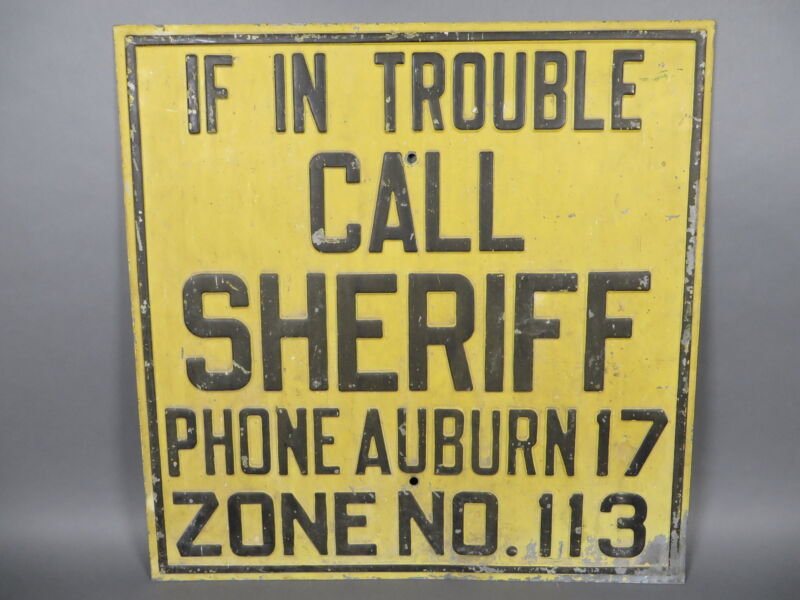 """Vintage 24"""" Sheriff Police Law Enforcement Heavy Embossed Metal Sign Auburn NY"""