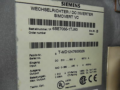 Siemens 6se7035-1tj60 Simovert Md Vector Inv 650v 250kw 510a