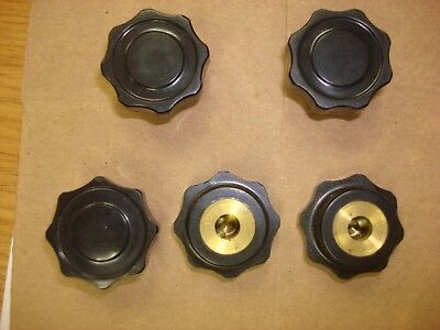 5 X Bakelite Skirted Control Knob 30mmdx16mmh Black For 6mm Shaft