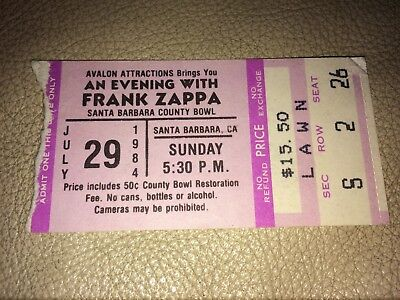 frank zappa concert ticket stub santa barbara county bowl july 29 1984 5:30 pm