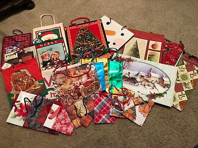 LOT Christmas Bags & Boxes Assortment with Handles for Wrapping Holiday Gifts