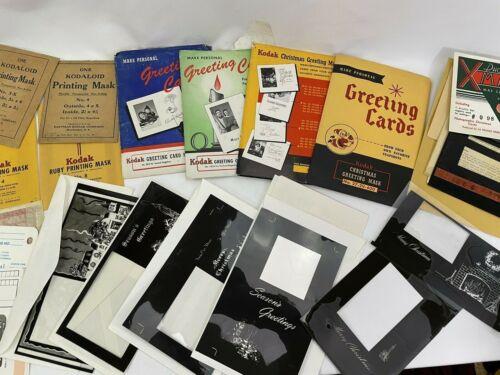 13 Vintage Photo Masks Christmas Greeting Cards + Printing Masks, Large Lot LOOK