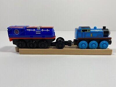 Thomas & Friends Wooden Railway 2012 Thomas & Booster Steam Car Wooden Train-GUC