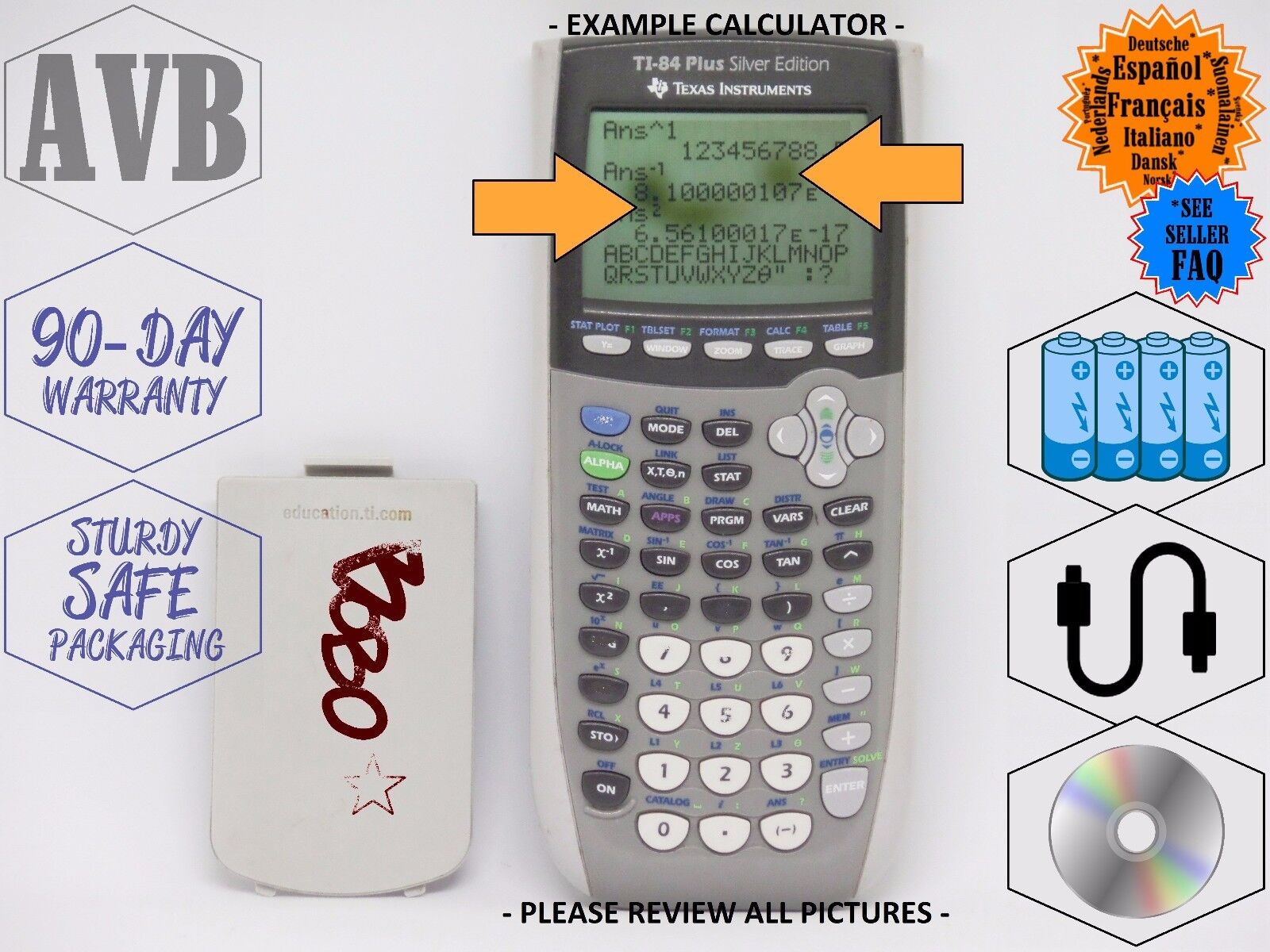 Texas Instruments Gray TI-84 Plus SILVER EDITION Graphing Calculator!! - College