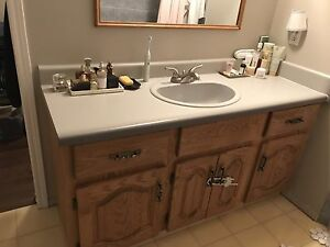 "Vanity 60"" Solid Oak with sink and faucet"
