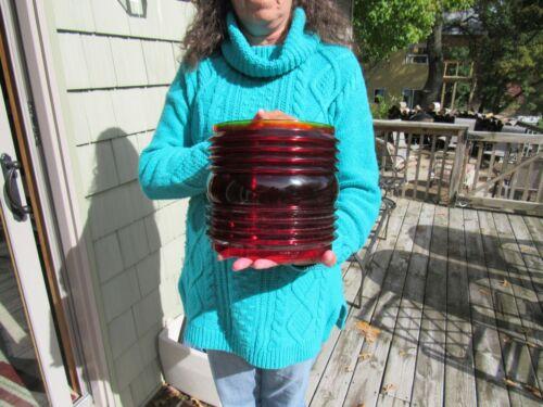 VINTAGE HUGE RED GLASS LENS SHIPS LIGHT PERKINS 17 MLD #2 ANCHOR FIG 261 MINT